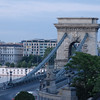 Sze'chenyi La'nchi'd, Chain Bridge from Buda side on a funicular going up to Buda Castle level, Budapest Hangary