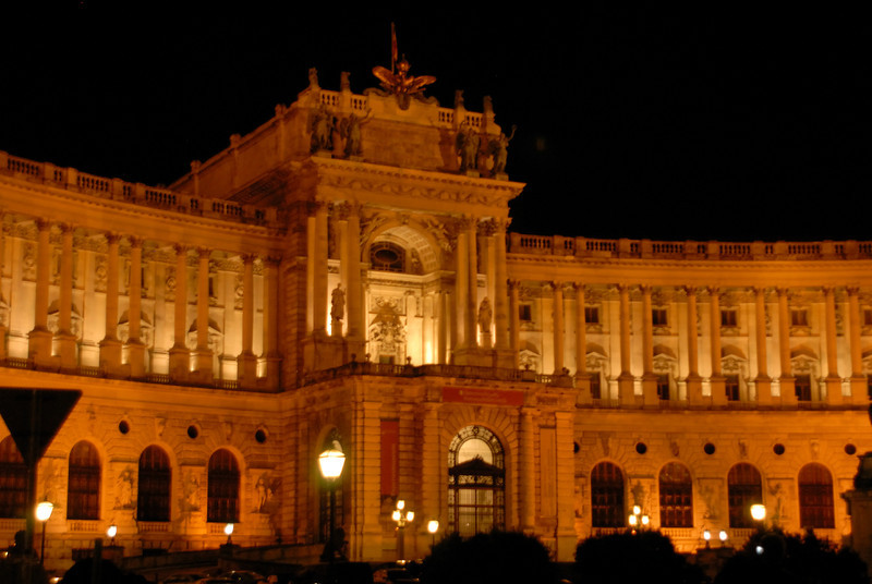 Hofburg (Imperial Palace) at night, Vienna Austria