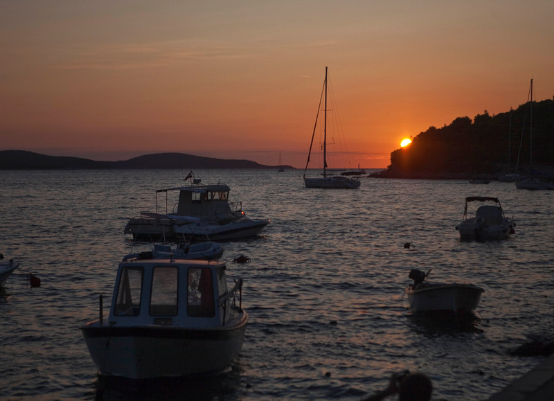 Another sunset view from the small craft dock area of Hvar, Croatia.