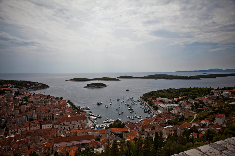 Taken from atop the fortress, this photo shows the port and old town of Hvar, Croatia as well as some of the nearby islands where you go to the beach. I think it captures the beauty of this idyllic paradise.