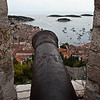 View from the castle fortress overlooking the old town port on Hvar Island, Croatia. You can see how the defense of the island was startegically placed here. This fortress was built in the 16th century on the site of an earlier, medieval, fortress.