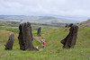 In the Quarry. These moai are full size but are buried.Note small volcanos in the distance.