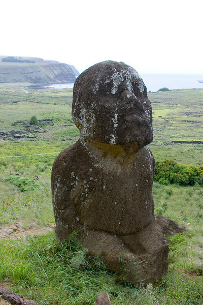 The only seated moai on the island. Significance unknown.