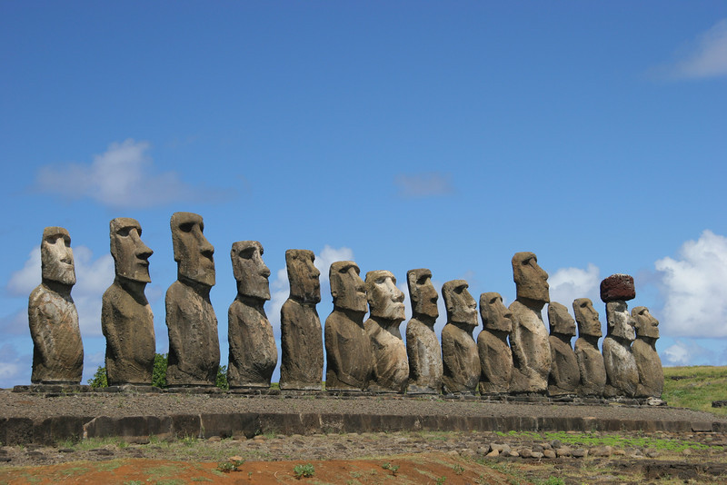Tongariki, the largest collection of moai on the island with 15 statues in a row