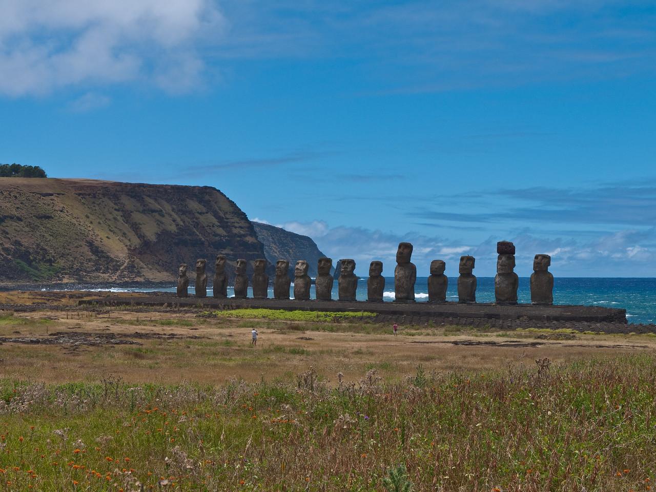 Moai by the ocean at Ahu Tongariki