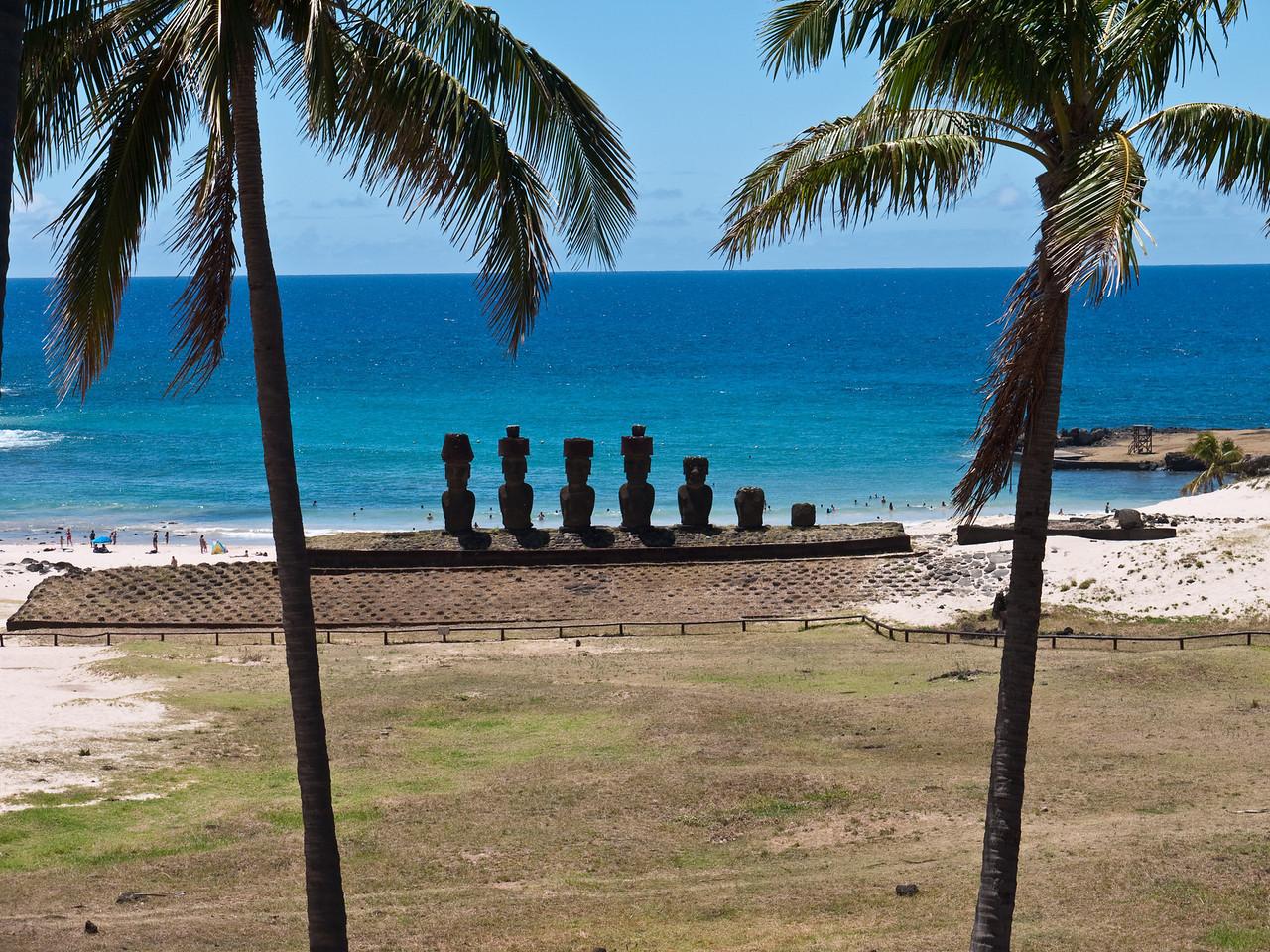 Moai on the beach at Anakena