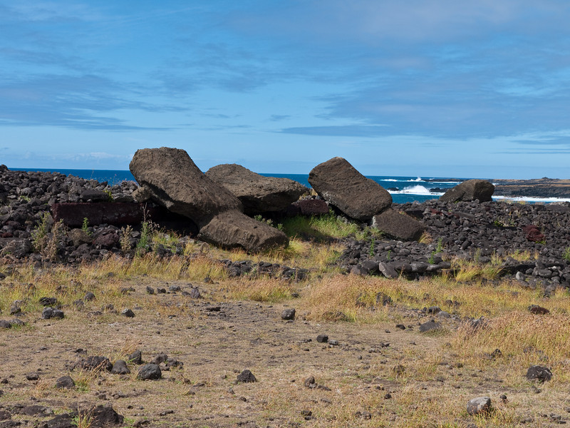 Toppled moai at Ahu Hanga Te'e