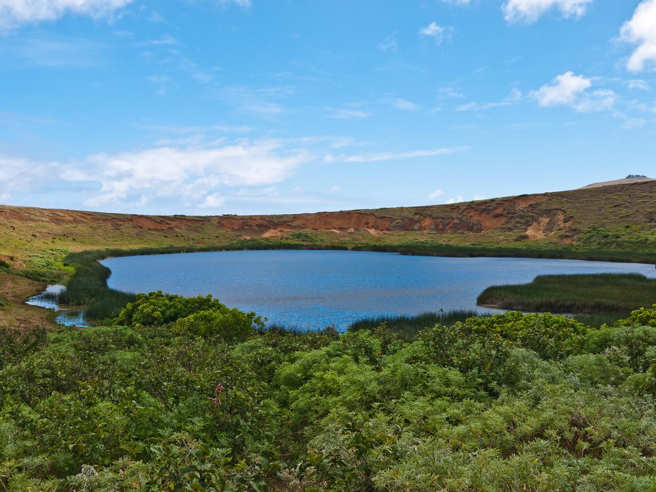 The lake inside the volcanic crater at Rano Raraku.