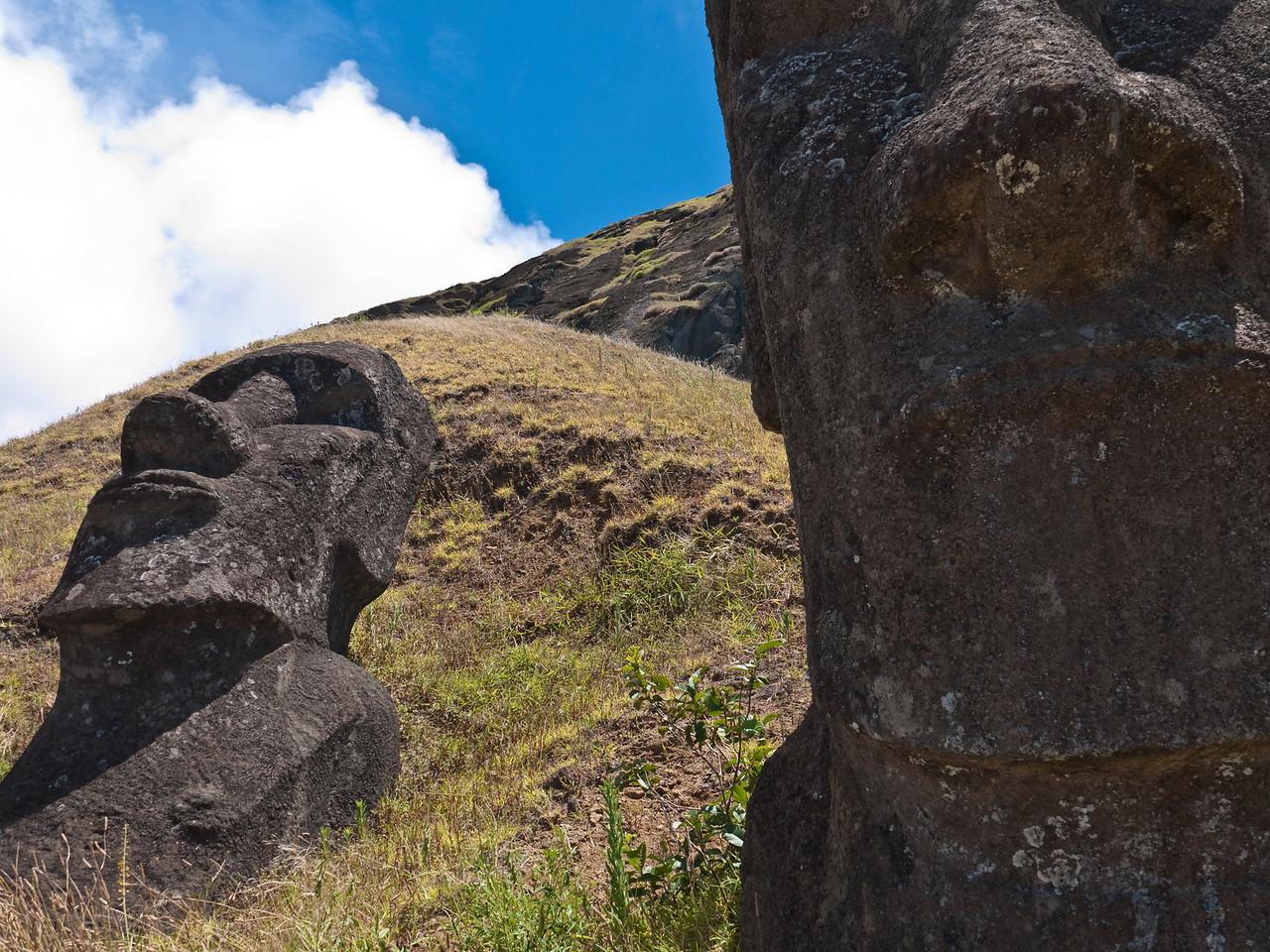 Moai on the hillside at Rano Raraku