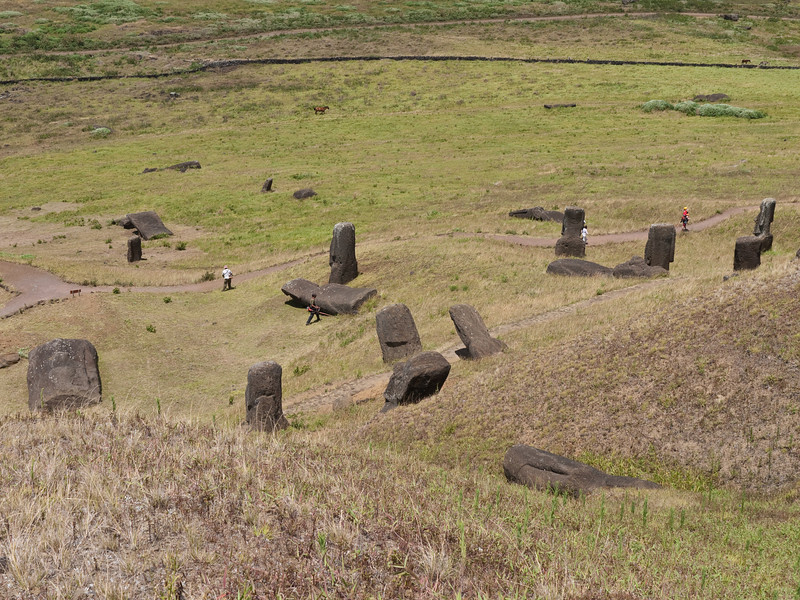 Half-buried and shattered moai litter the hillside at Rano Raraku. This is one of the few areas of the island that's an actively-maintained park with groundskeepers.