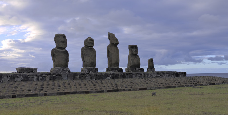 Moai at Hanga Kioe. Exposure-bracketed HDR merge.
