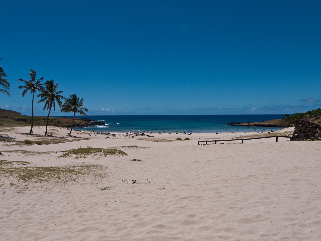 One of Easter Island's two sand beaches