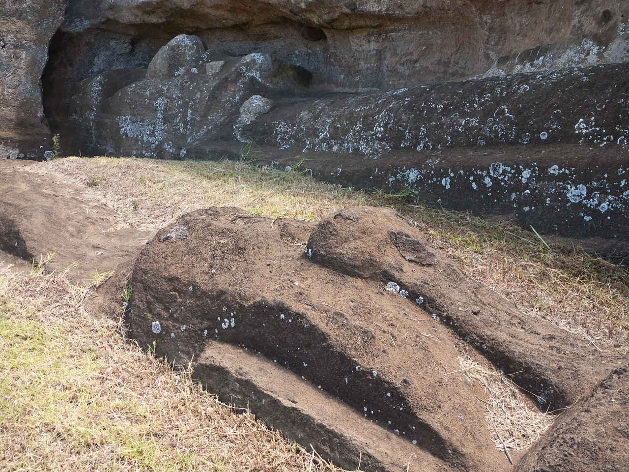 Two moai that were under construction when the island society collapsed