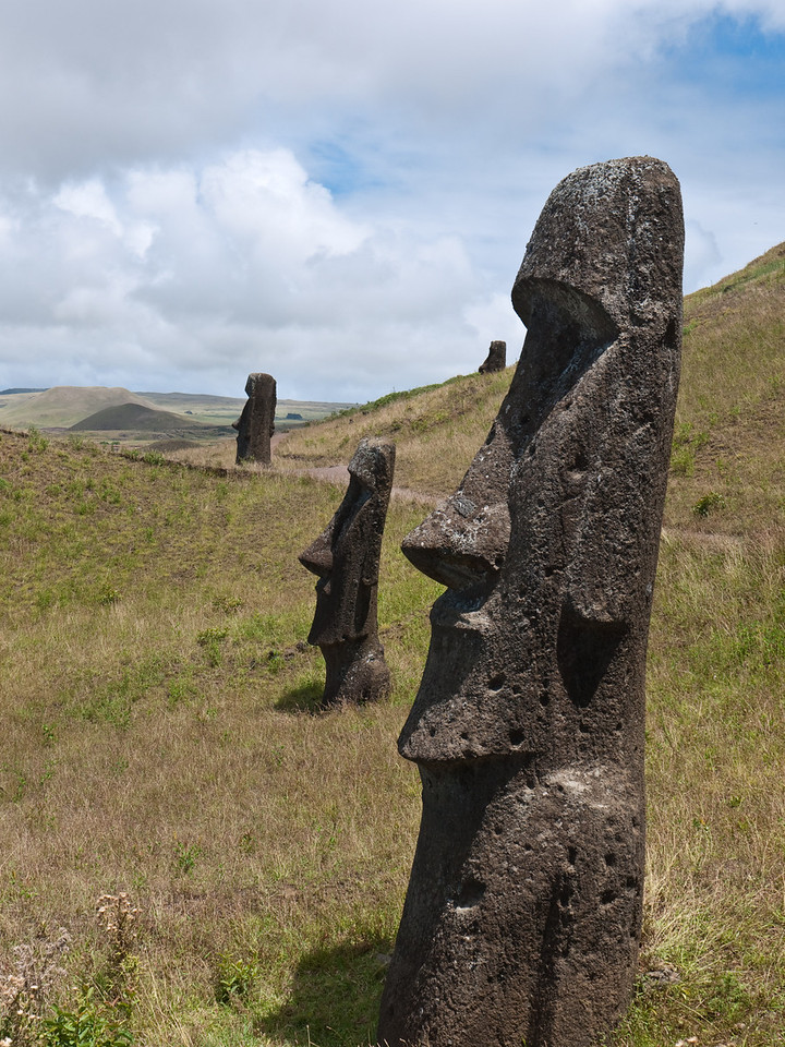 Half-buried moai