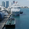 View from the ship before departing Miami.  Carnival Liberty is docked behind our ship, the Norwegian Pearl.