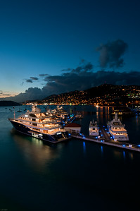 St Thomas harbor at night