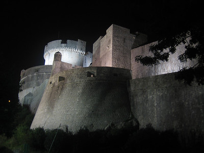 Outside Dubrovnik's city walls at night