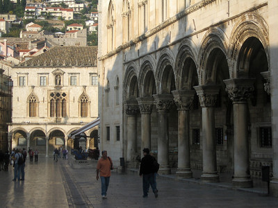 To the right is the 1441 gothic Rector's Palace, with 16th century Sponza Palace in the distance.