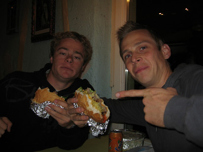 Eating a horse burger with an Aussie friend