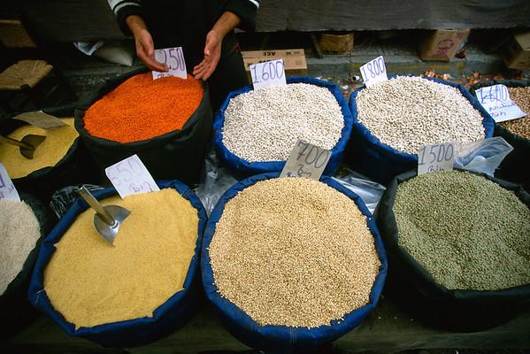 Grain bins at street market, Turkey