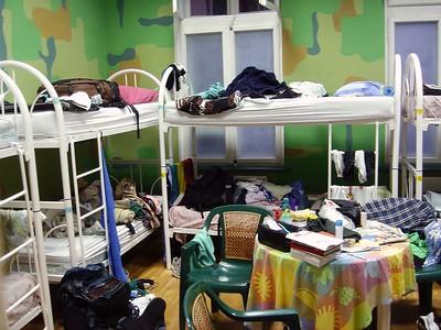 Dæmigert herbergi á hosteli.