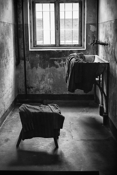 """The Washroom <br /> <br /> This is where women were stripped before execution.  Then they were led in two to the yard and shot at the """"death wall."""""""