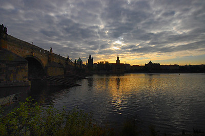 The Charles Bridge in Prague at Sunrise