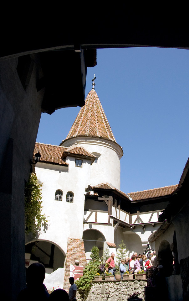 View of Bran Castle from interior courtyard