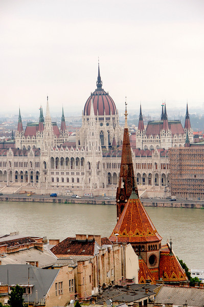View of Budapest and Houses of Parliament