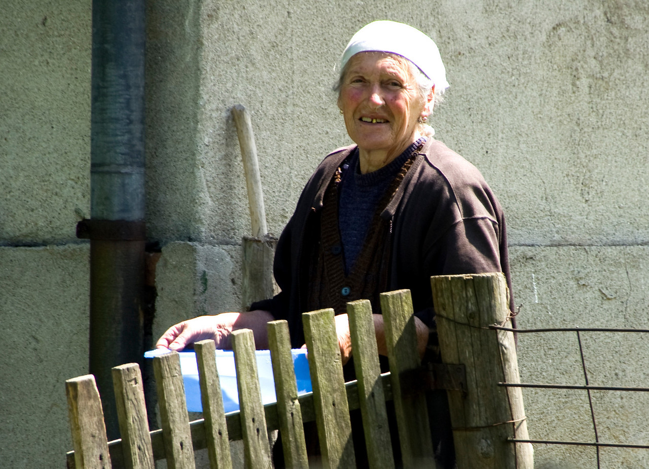 Romanian woman in garden