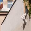 Overhanging artwork in Prague