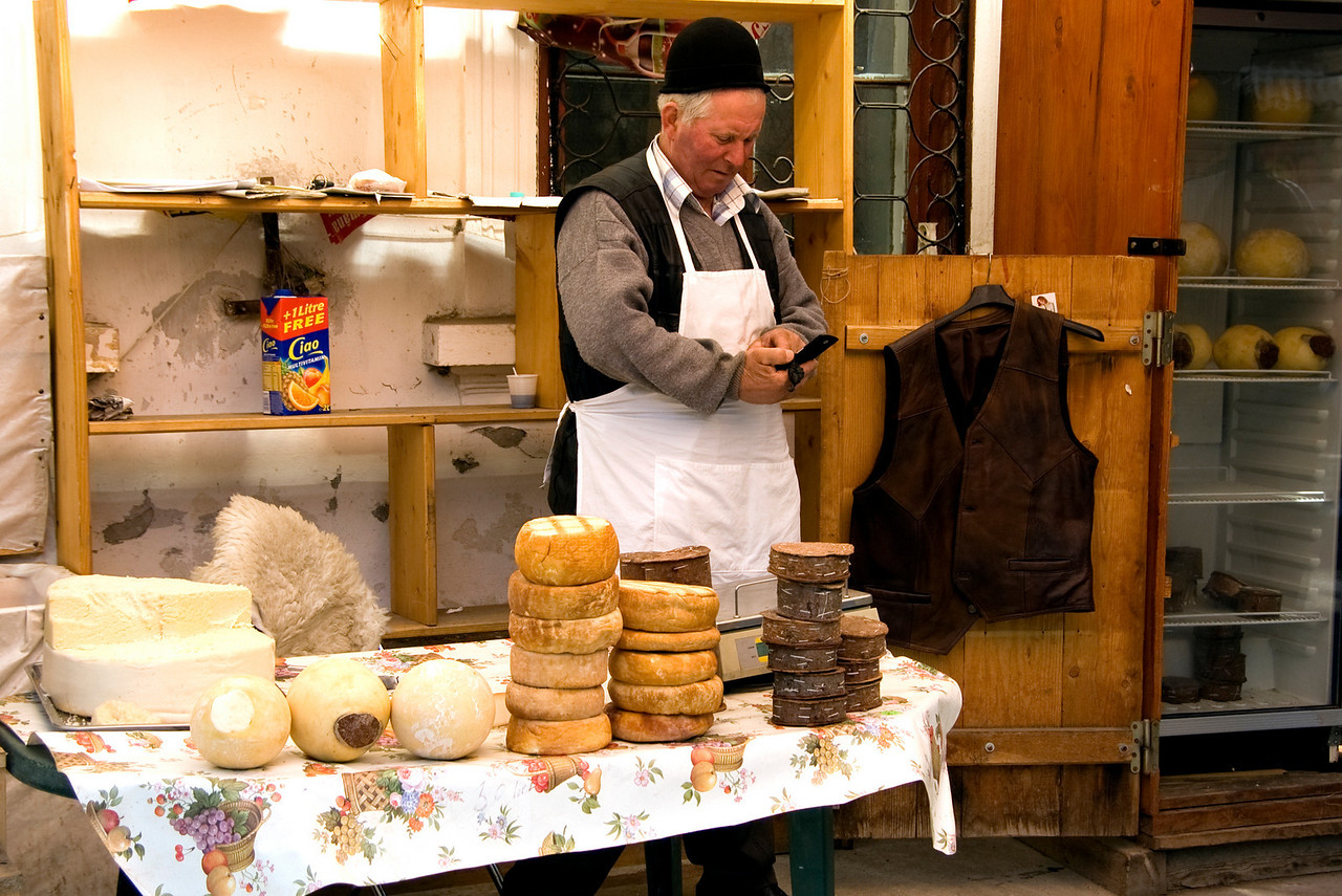 Selling cheese outside Bran Castle