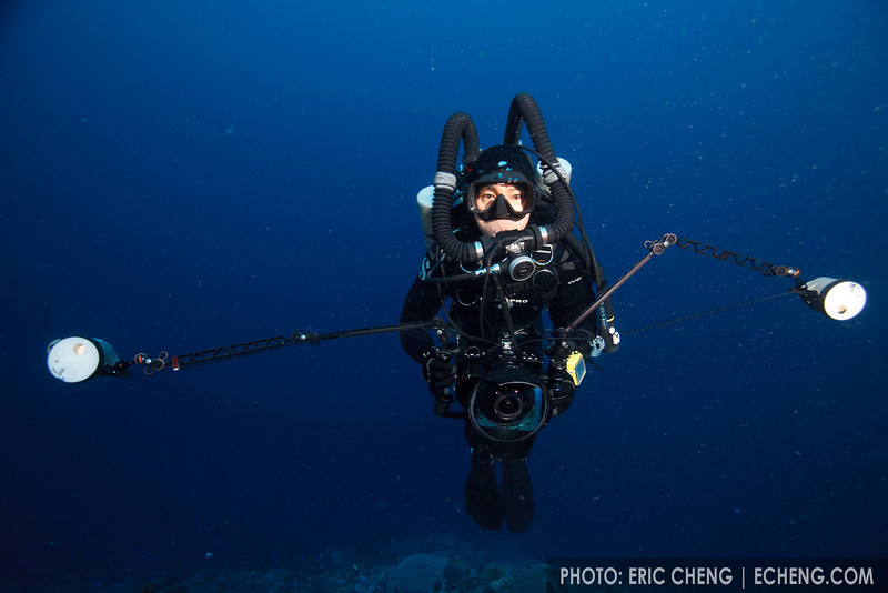 Photographer Tony Wu on rebreather, Eastern Fields, Papua New Guinea