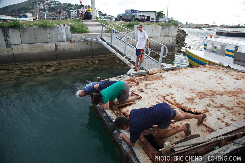 Frank, Julie and Tony check out larval fish at our dock in Port Moresby, Papua New Guinea