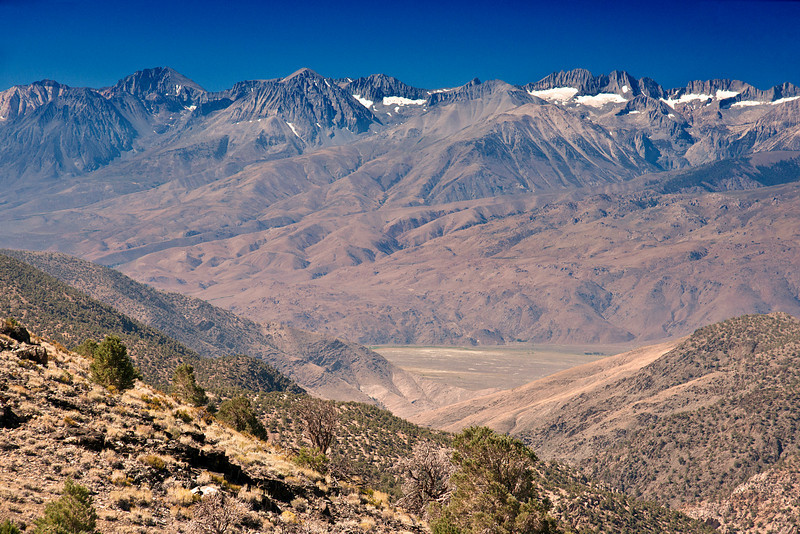 A view of the Eastern Sierra Nevada Range from the dirt road