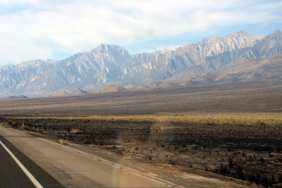 7/12/07 Aftermath of Inyo Complex fire off Hwy 395N, passing through Independence on way back to LA. Eastern Sierras, Inyo County, CA