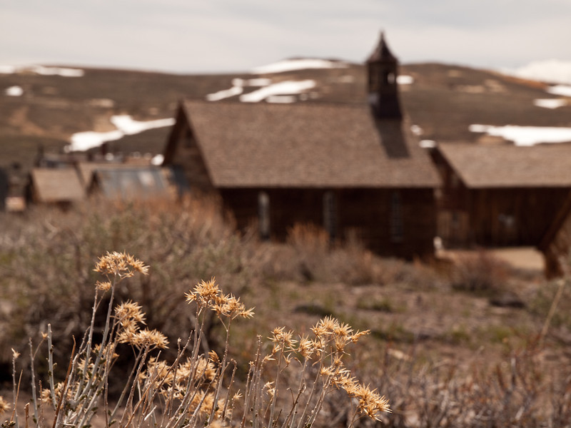 Bodie church in the harsh sunshine.  From afar, a traveler could have mistaken Bodie for a refuge.  In reality it was a rough place I bet.