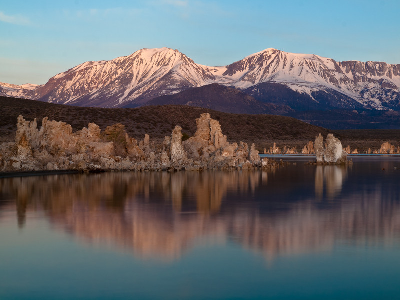 the alpenglow fades and the tufa lights up on Mono Lake.