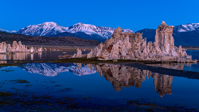 Mono Lake before the sun rose.  The only time the wind was still enough to create crisp reflections.