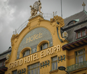 Prague: Wenceslas Square, The Grand Hotel Europa, detail