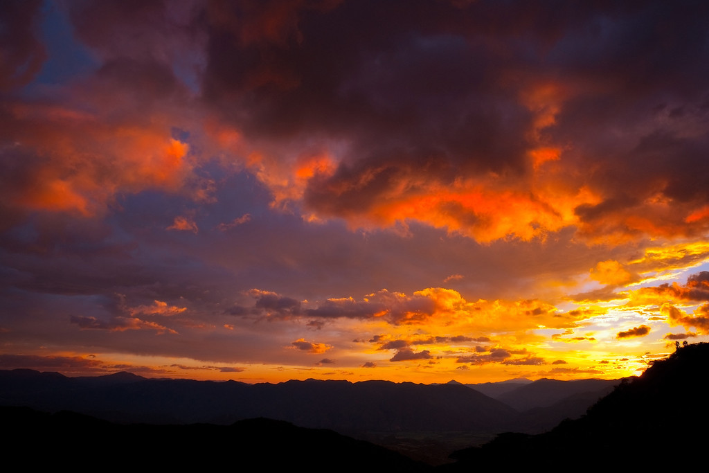 Sunset from a mountain road between Catamayo and Loja, Ecuador.