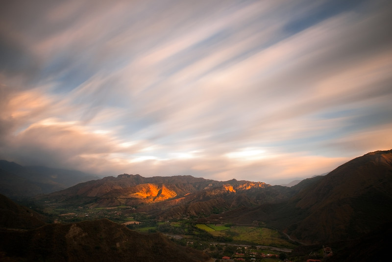 Sunset and sky motion in the San Joaquin valley, Loja, Ecuador<br /> © Douglas Remington - Ethereal Light Photography, LLC.  All Rights Reserved. Do not copy or download.