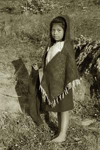 Ecuador girl poncho sepia