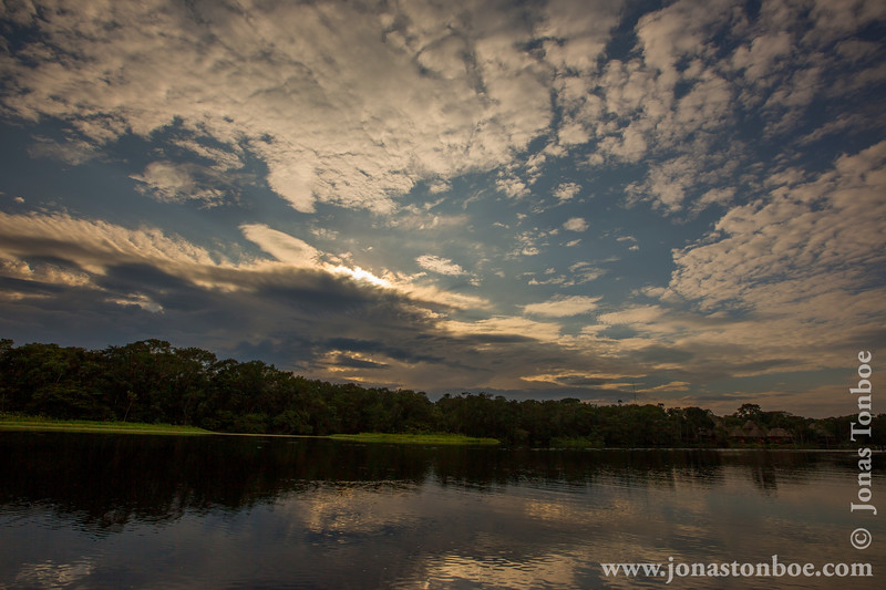 Sunset over Lake Anangucocha