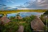 Sunset over Napo Wildlife Center Lodge and Lake Anangucocha