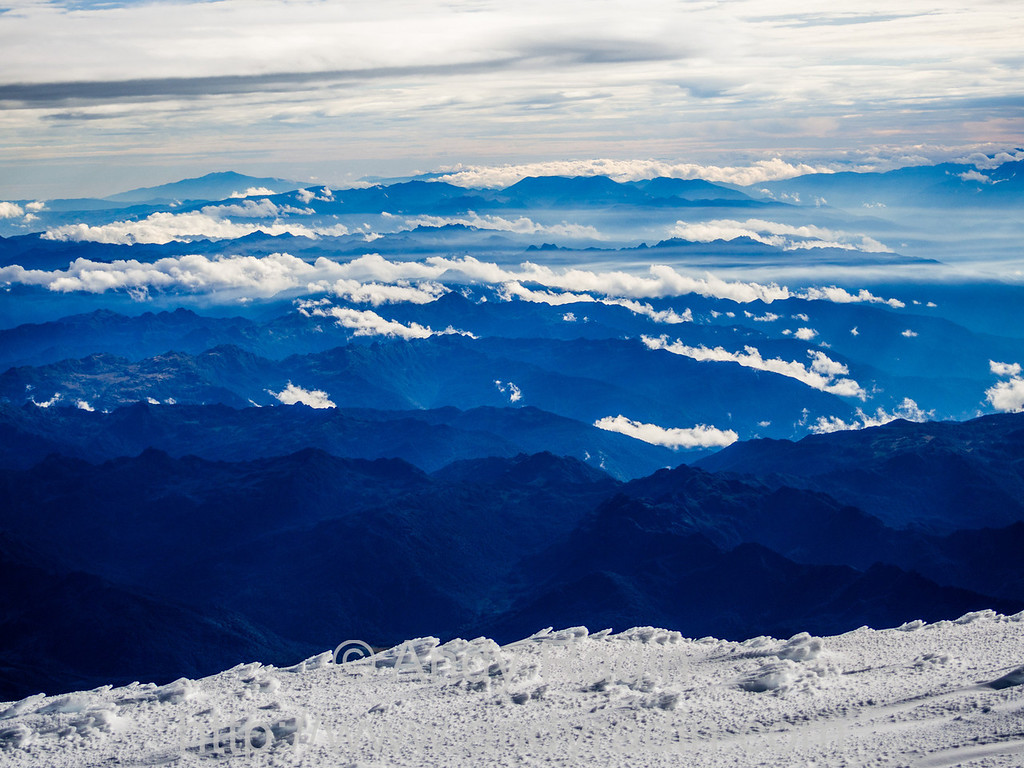 From the summit of Cayambe (5,790m / 18,996 ft).