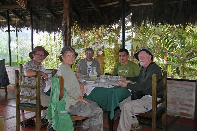 Mirador Rio Blanco Restaurant, Aug 11. Gerald, Pat, Steve, Nelson (guide), and Don.