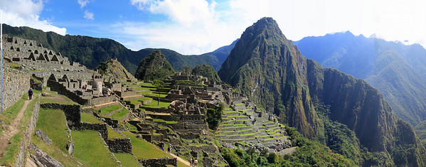 Our first view of Machu Picchu just beyond the Caretaker's Hut.  Here we are standing on the agricultural terraces..