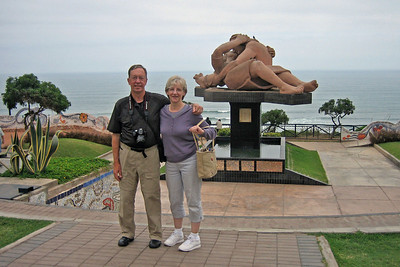 Here we are at the Parque del Amor (the Park of Love) along the cliffs by the ocean a few blocks from where we stayed in the Miraflores district of Lima.  The park is dedicated to the old Peruvian custom of courting in public gardens.  The statue is called El Beso or The Kiss.