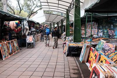 Walking through the artisan stalls.